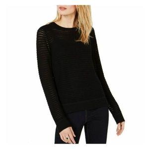 INC Womens Open-knit Sweater Long Sleeve Crew Neck